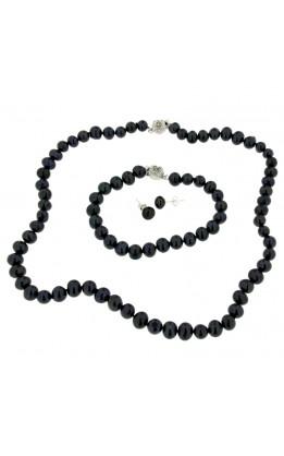 Parure perle vere nere