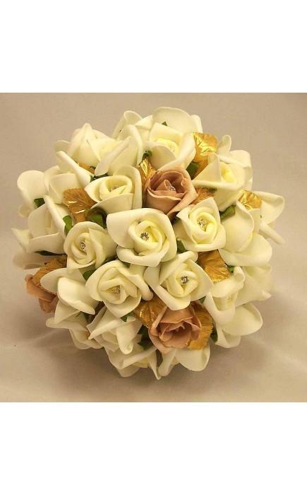 Bouquet Sposa Rose Avorio.Bouquet Sposa Rose Avorio Moka E Foglie Oro Con Diamanti