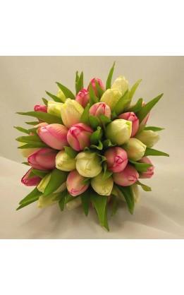 Bouquet sposa tulipani rosa e crema