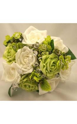 Bouquet sposa bianche, verdi, fogliame e cristalli