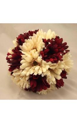 Bouquet sposa Gerbere Avorio e Bordeaux