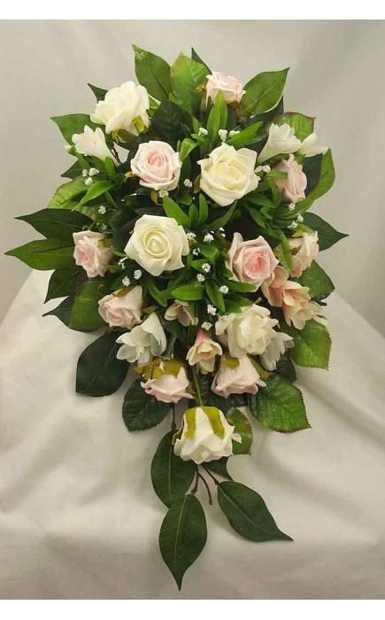Bouquet A Goccia Sposa.Bouquet Sposa A Goccia Rose Rosa E Avorio
