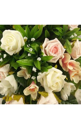 Bouquet sposa a goccia rose rosa e avorio