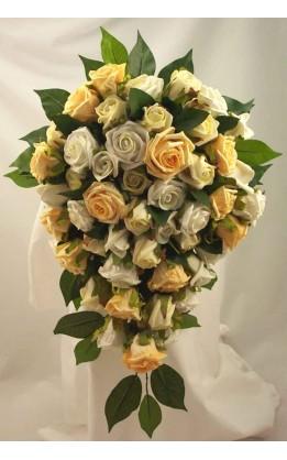 Bouquet sposa a goccia rose avorio,gialle e oro
