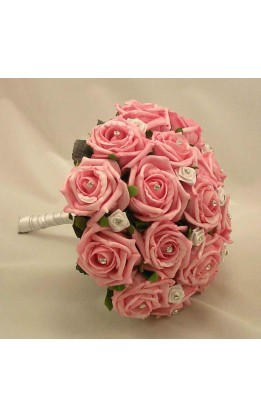 Bouquet sposa rose rosa e bianche con diamanti
