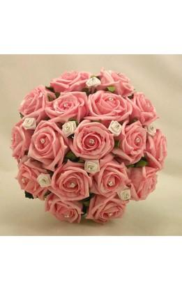 Bouquet sposa rose rosa e bianche con diamanti