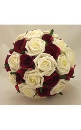 Bouquet sposa rose avorio e rosso scuro