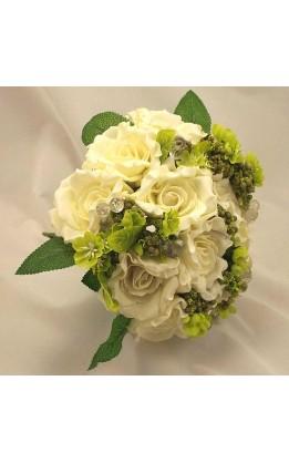 Bouquet sposa rose aperte avorio, bacche e fogliame