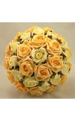 Bouquet sposa rose avorio e gold con diamanti