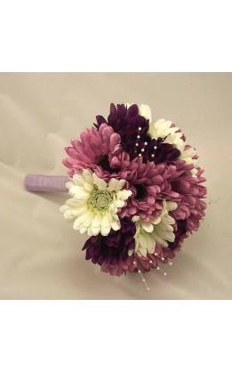 Bouquet sposa gerbere avorio, lilla e viola