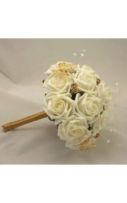 Bouquet sposa rose avorio,oro e farfalle