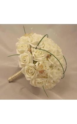 Bouquet sposa rose bianche,oro diamanti & farfalle