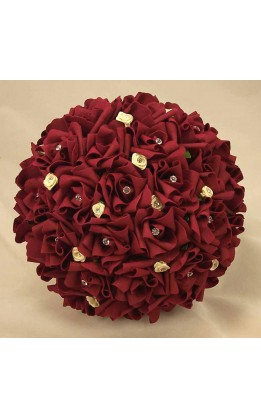 Bouquet sposa rose rosso scuro e avorio con diamanti