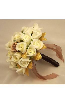 Bouquet sposa rose avorio,moka e foglie oro con diamanti