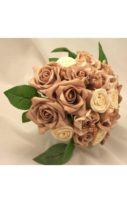 Bouquet sposa rose crema e moka