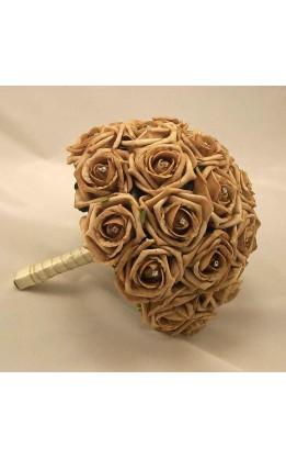Bouquet sposa rose moka con diamanti