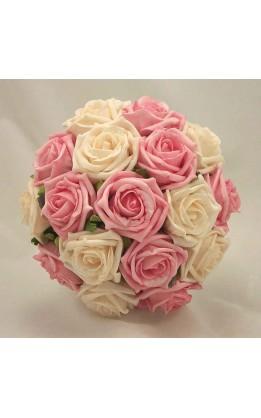Bouquet sposa rose avorio e rosa