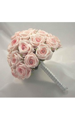 Bouquet sposa rose rosa e diamanti
