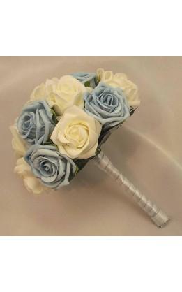 Bouquet sposa rose avorio e azzurre