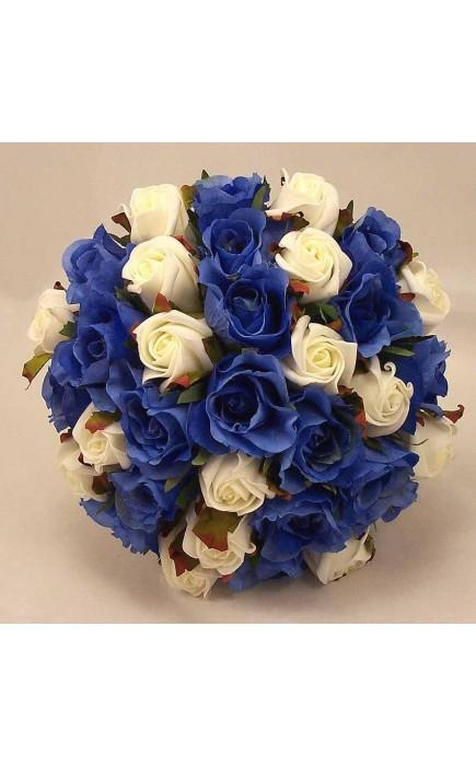 Bouquet Sposa Rose Blu.Bouquet Sposa Rose Avorio E Blu