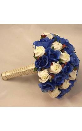 Bouquet sposa rose avorio e blu