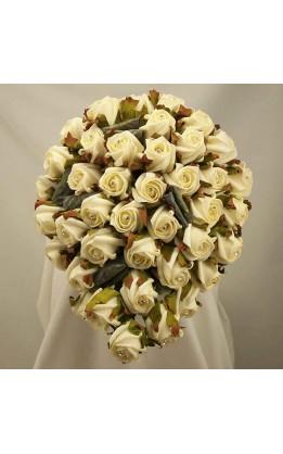 Bouquet sposa a goccia rose bocciolo avorio diamante