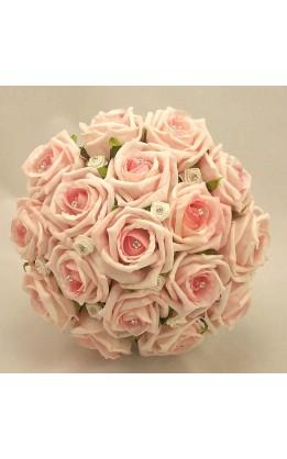 Bouquet sposa rose rosa chiaro, avorio e diamanti