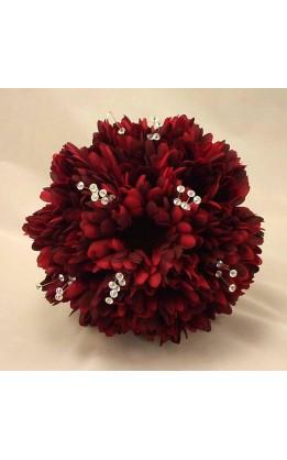 Bouquet sposa Gerbere rosso scuro e cristalli