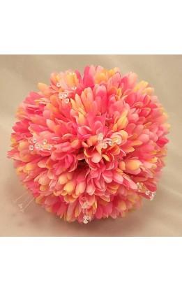 Bouquet sposa Gerbere rosa e cristalli