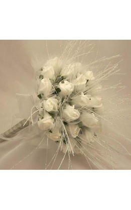 Bouquet sposa rose bianche diamond strands
