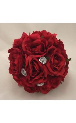 Bouquet sposa rose rosse e argento