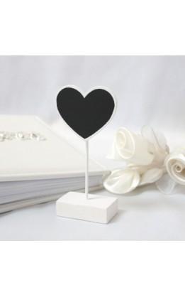 Segnaposto lavagna cuore bianco (6 pz)