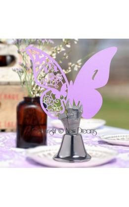 Segnatavolo farfalla lilla numerate (12pz)