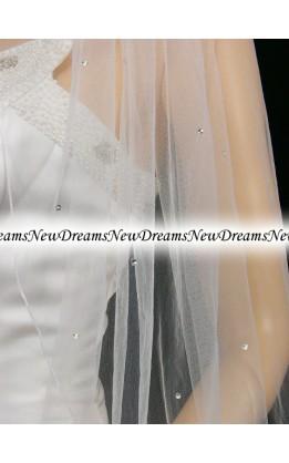 Velo sposa V114-Bianco-91 cm-con cristalli