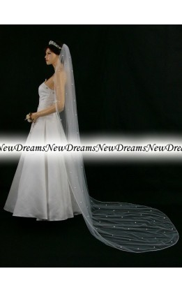 Velo sposa V117-Bianco-275 cm-con cristalli