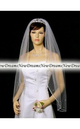 Velo sposa V95-Bianco-91 cm-con cristalli