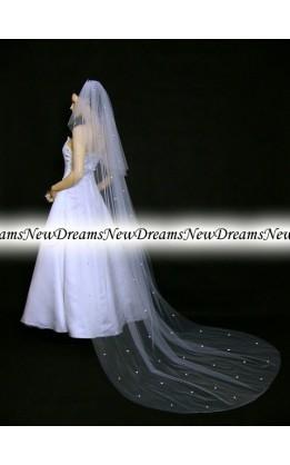 Velo sposa V202-Bianco-275 cm- con cristalli